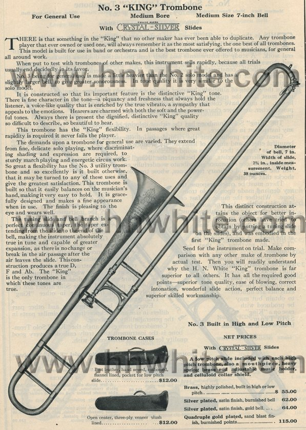 1919 No 3 Trombone Large h n white trombones \